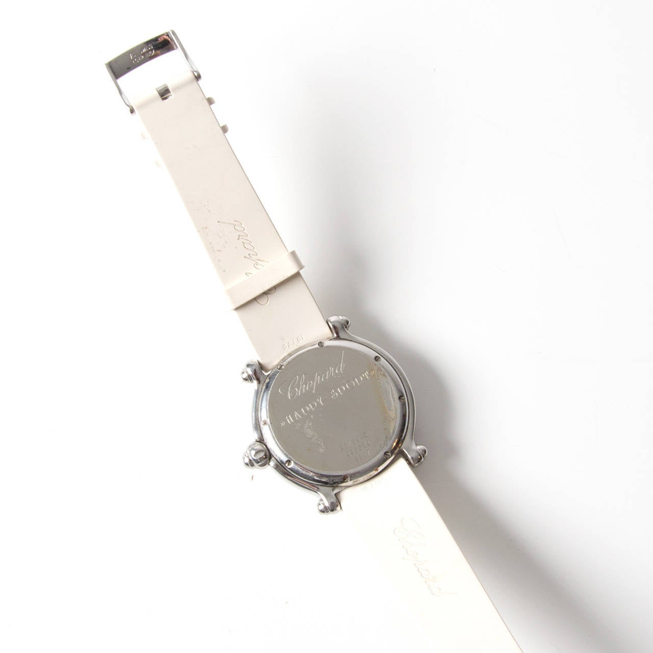 Chopard Lady's White Gold Steel Quartz Happy Sport Snowflake Wristwatch For Sale 1