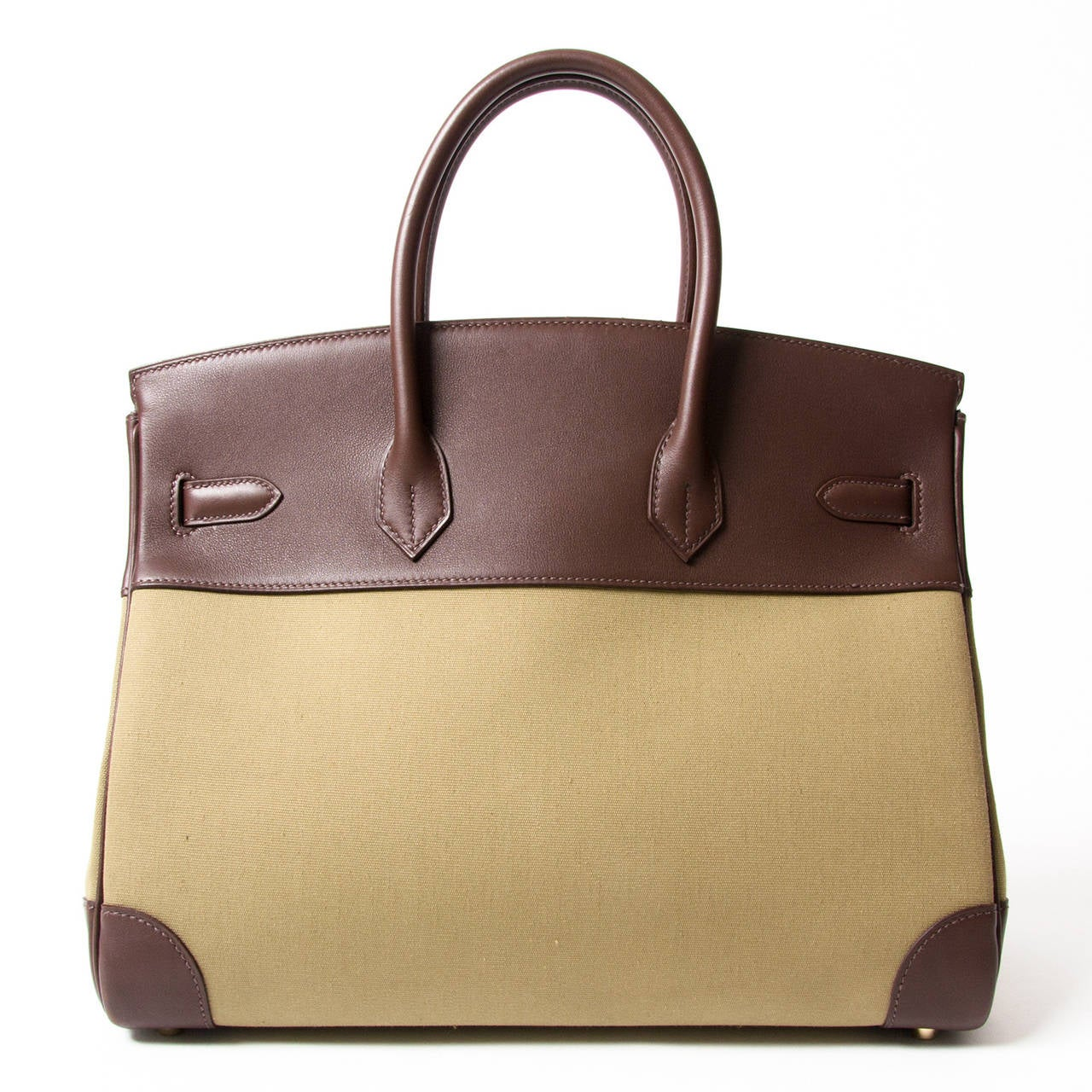ead35c3c2d Brown Hermès Birkin GHW 35cm bi-color Toile officier kaki & havane Swift  leather For