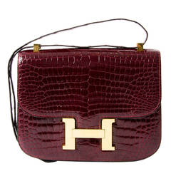 Hermes Croco Constance Rouge H