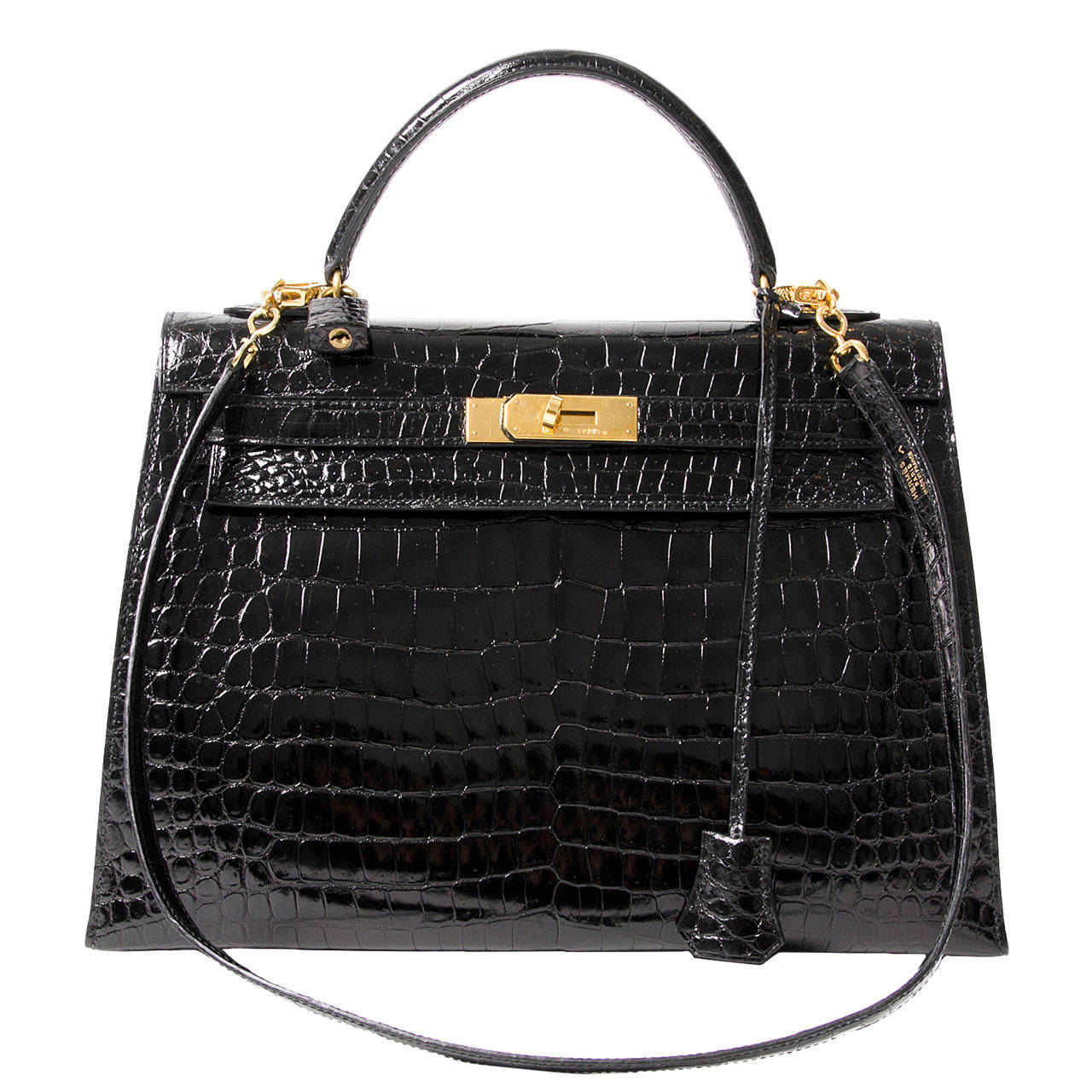 63ed0f5347 Hermes Kelly Black Shiny Porosus Crocodile GHW at 1stdibs