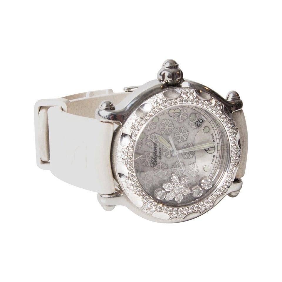 Chopard Lady's White Gold Steel Quartz Happy Sport Snowflake Wristwatch 1