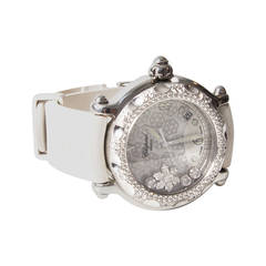 Chopard Lady's White Gold Steel Quartz Happy Sport Snowflake Wristwatch