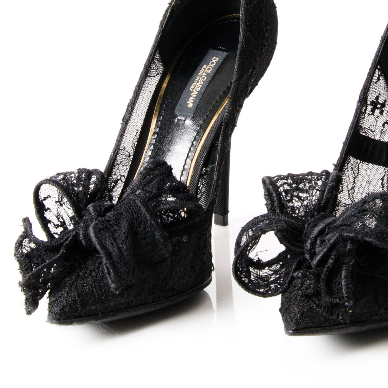 Dolce & Gabbana Black Chantilly Lace Bow Pumps 4