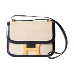 Hermes Constance Toile H and Navy Blue Boxcalf