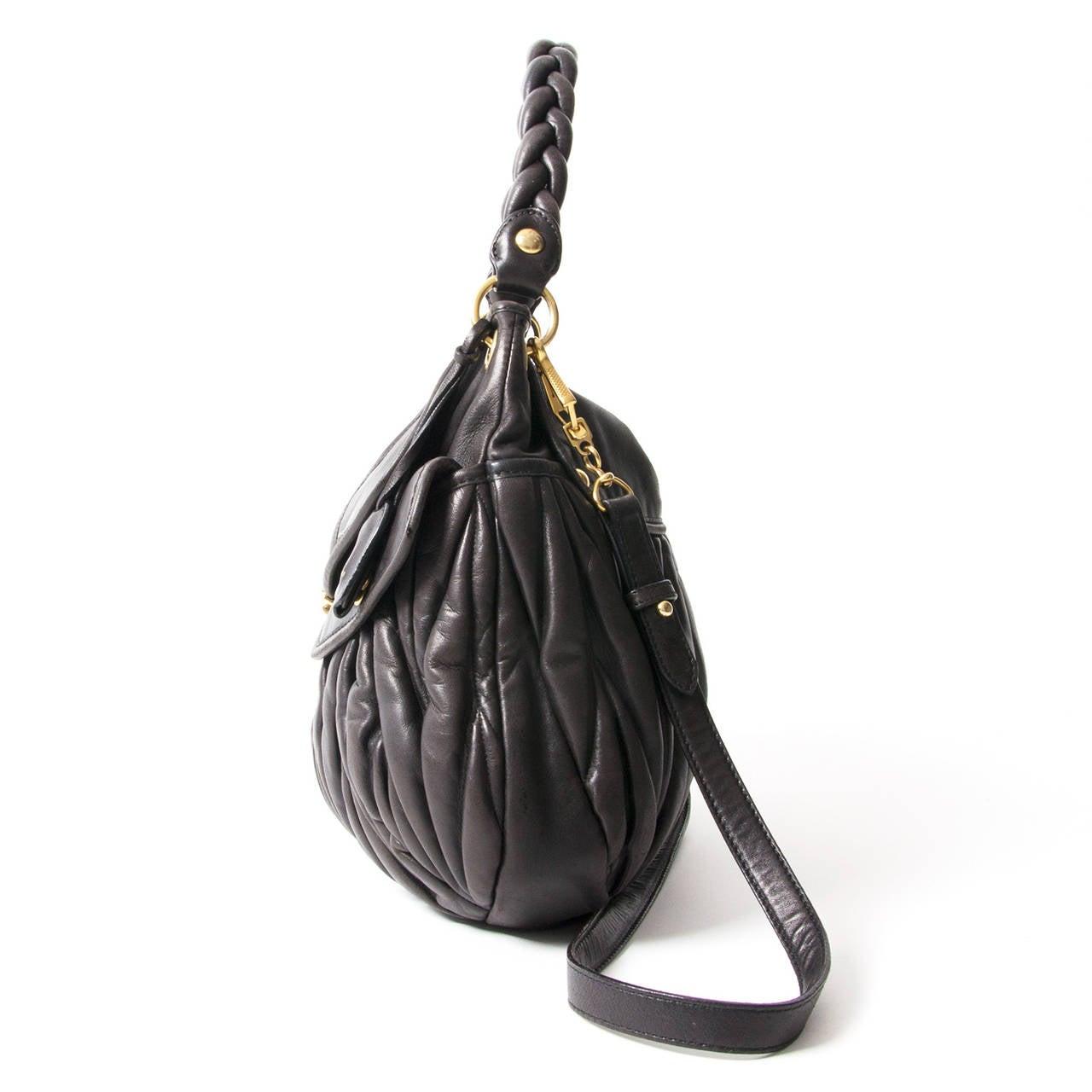 4741038281b3 This Miu Miu Coffer Matelasse bag beautiful smooth and soft black lambskin  eather and gold hardware