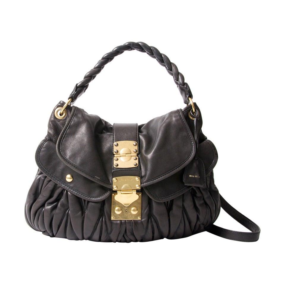 Miu Miu Black Coffer Matelasse Leather Bag at 1stdibs