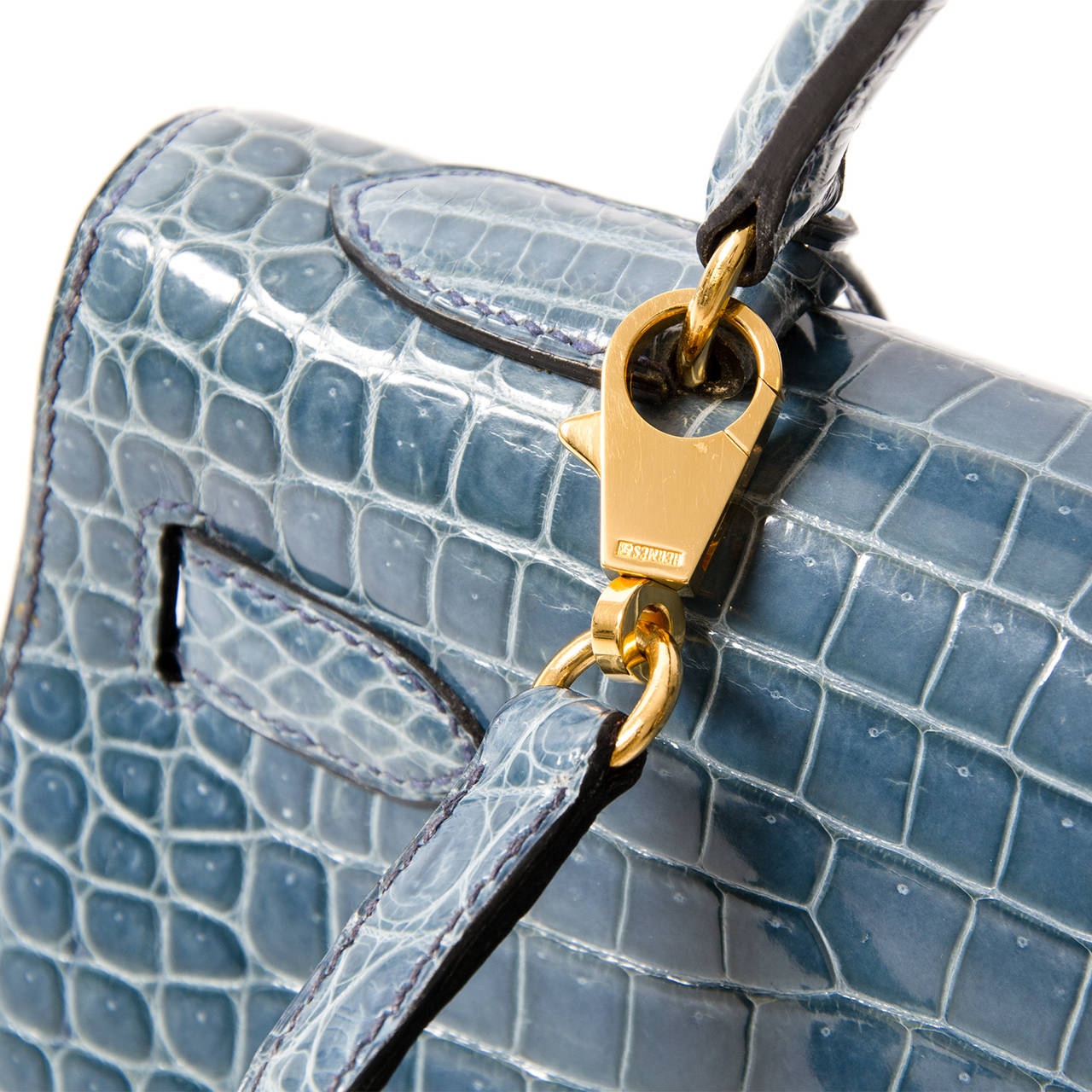Rare Hermes Blue Jean Porosus Crocodile 32 Kelly GHW For Sale 1