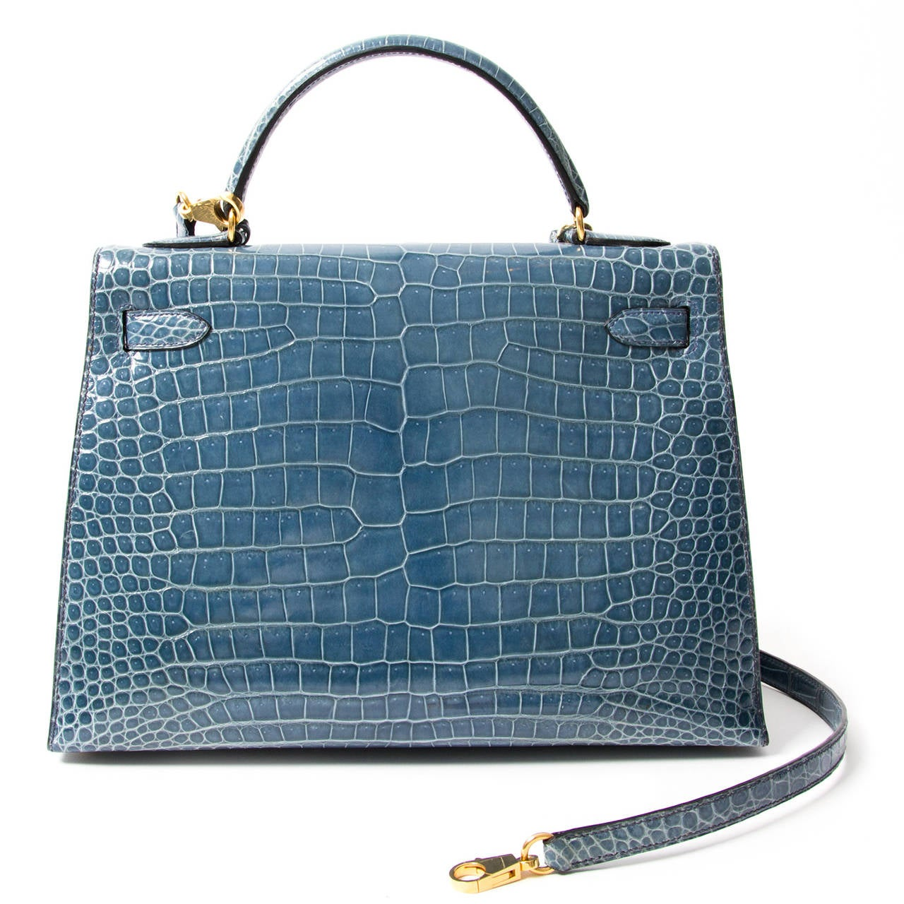 Rare Hermes Blue Jean Porosus Crocodile 32 Kelly GHW For Sale 2