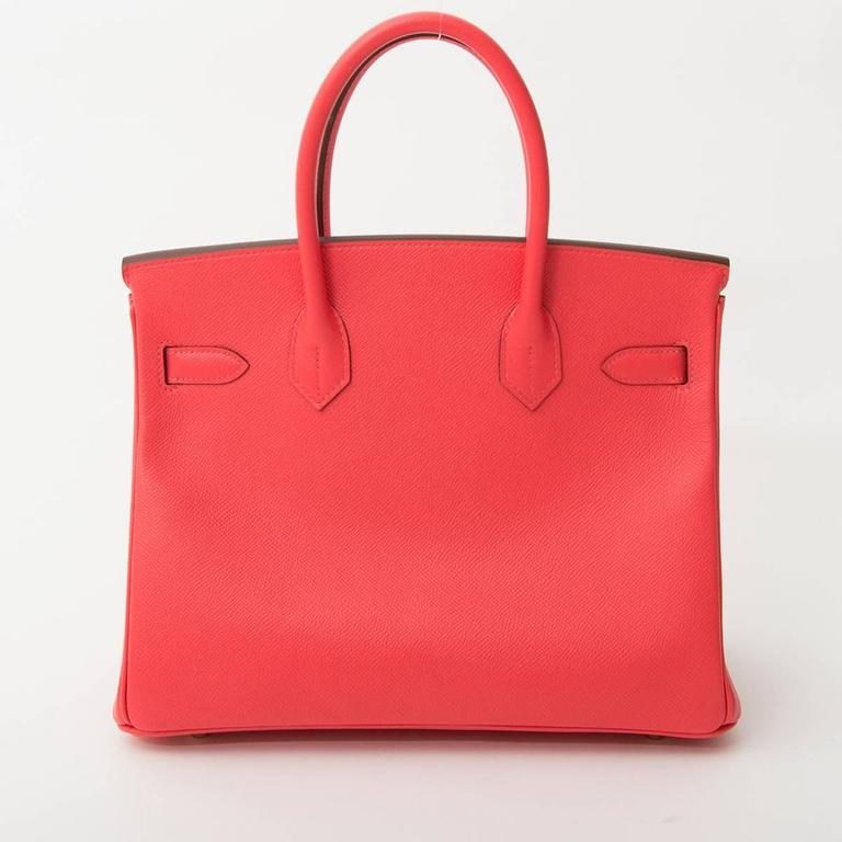 Hermes Birkin 30 Rose Jaipur Epsom Brand new, recently storebought Hermès Birkin bag measuring 25cm.  The gold-tone hardware emphasizes the youtfull and feminine appearance of the 'Rose Jaipur' pink Epsom leather body.   This compressed type of