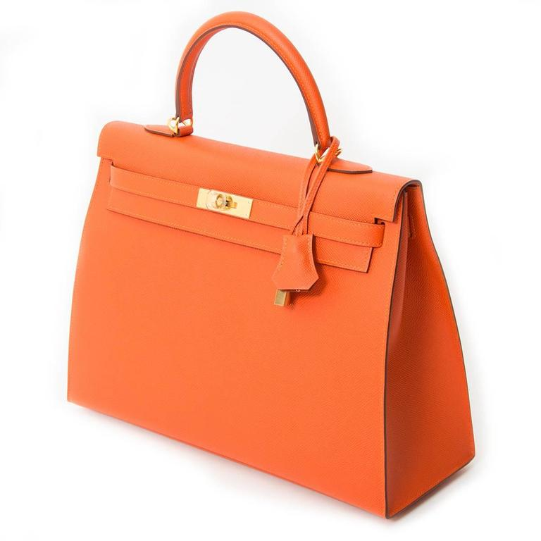 Hermès Kelly 35 Epsom in Feu Orange,a bright orange color, it is brighter