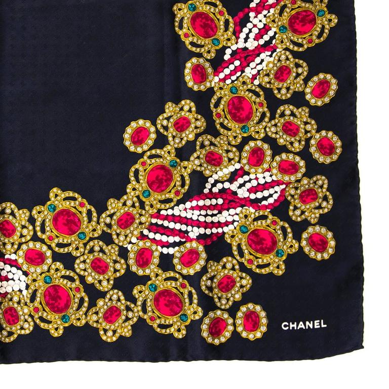 Chanel Carré Black and Red Silk Scarf 3