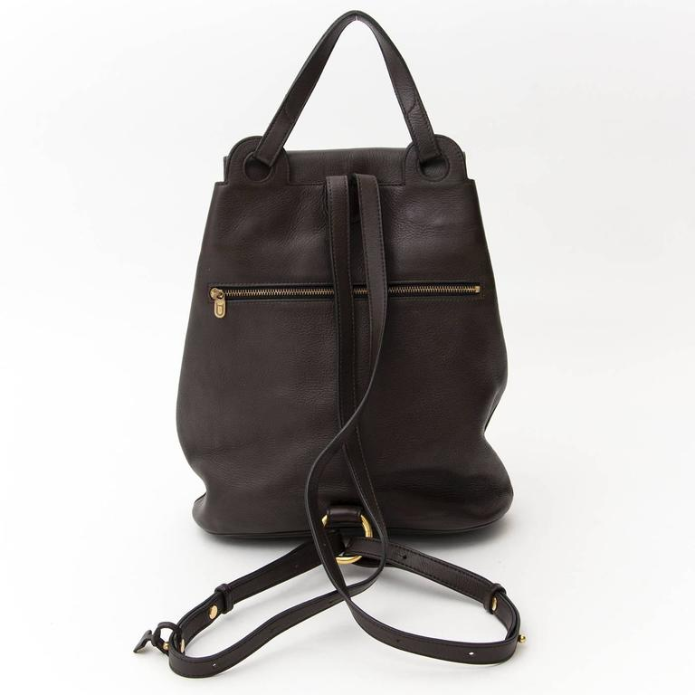 Delvaux Brown Backpack  In Excellent Condition For Sale In Antwerp, BE