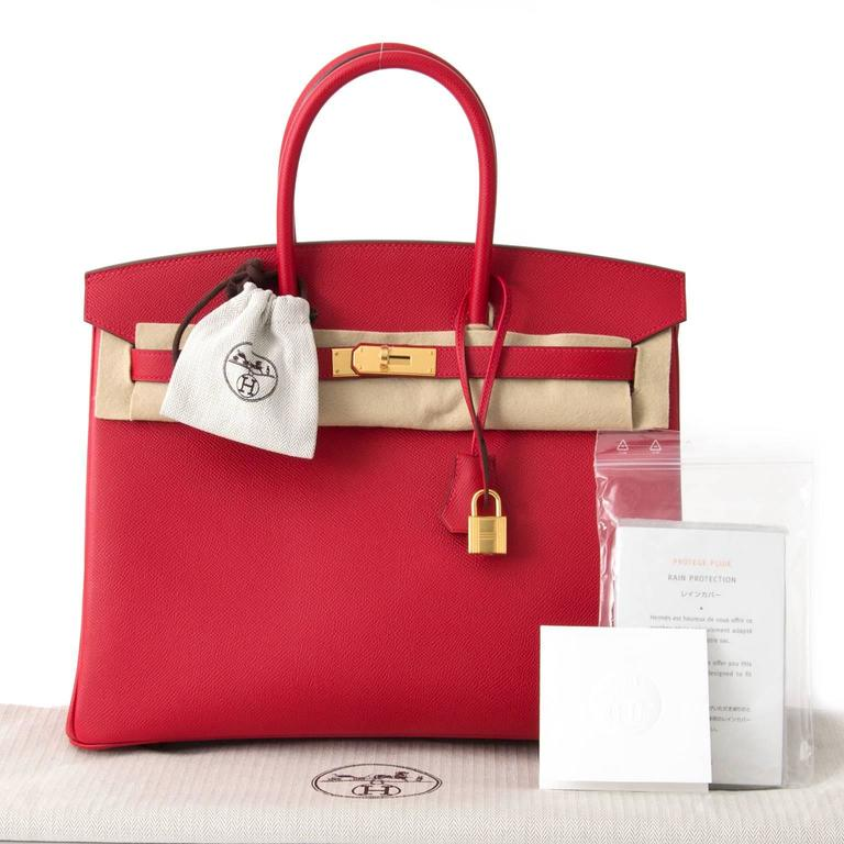 Brand New Hermès Birkin Rouge Casaque Epsom 35 GHW For Sale 1