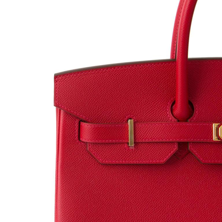 Brand New Hermès Birkin Rouge Casaque Epsom 35 GHW For Sale 2