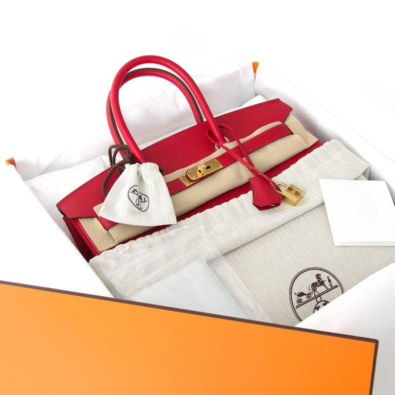 Store Fresh Hermès Birkin 35 in 'Rouge Casaque' Epsom leather and GHW. Rouge Casaque, a red hue as vibrant as you can get! The red color contrasting beautifuuly with the gold-tone hardware.