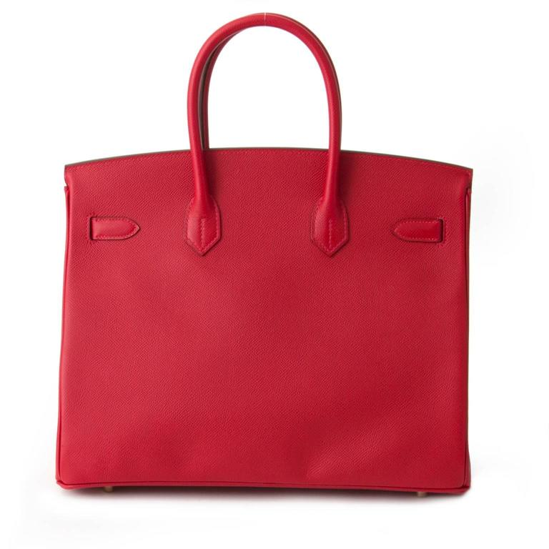 Brand New Hermès Birkin Rouge Casaque Epsom 35 GHW For Sale 4