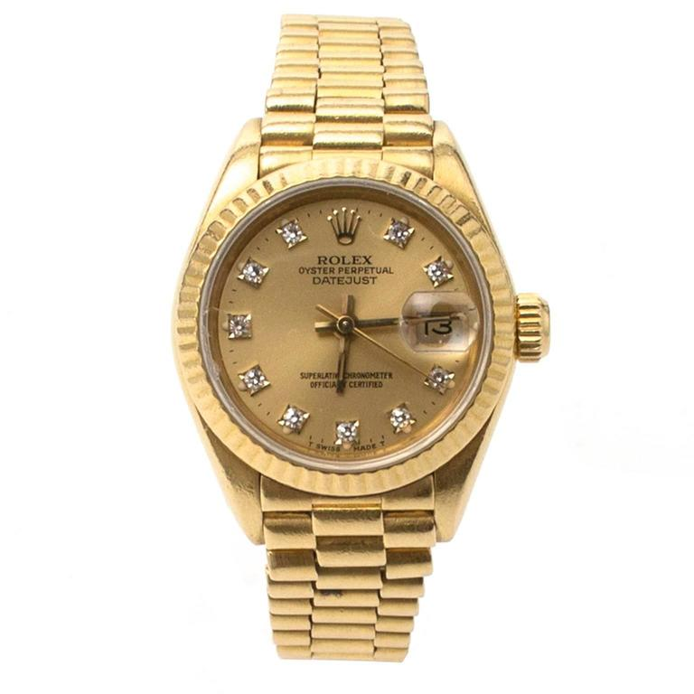 Rolex Women S Yellow Gold Presidential Diamond Watch For Sale At 1stdibs