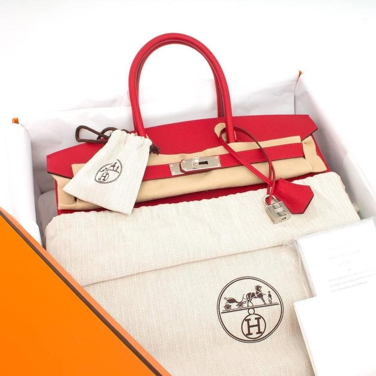 Store Fresh Hermès Birkin 35 in 'Rouge Casaque' Epsom leather and PHW. Rouge Casaque, a red hue as vibrant as you can get! The red color contrasting beautifuuly with the silver-tone hardware.  Blindtsamp 2016,  Comes in      original box