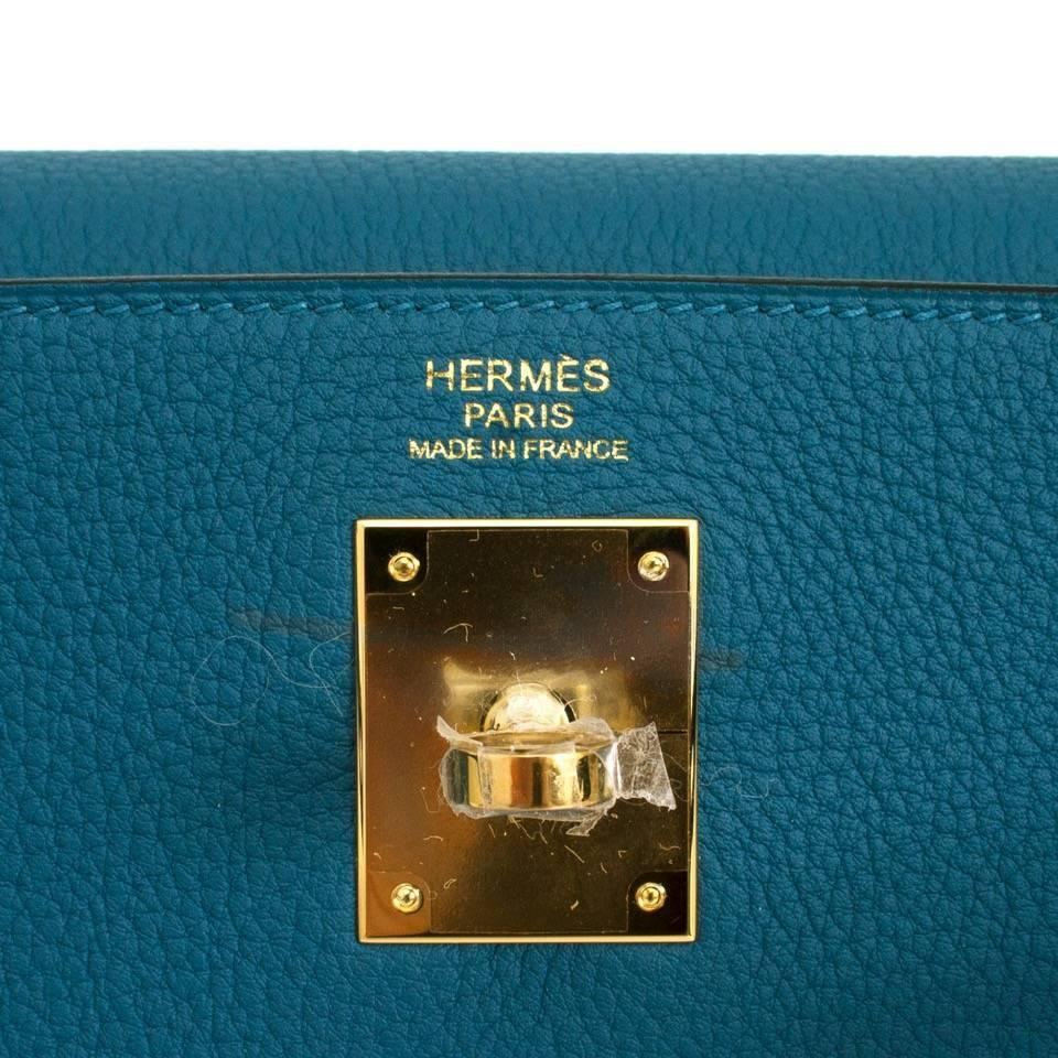 hermes blue cobalt togo leather kelly bag- 32 cm ghw