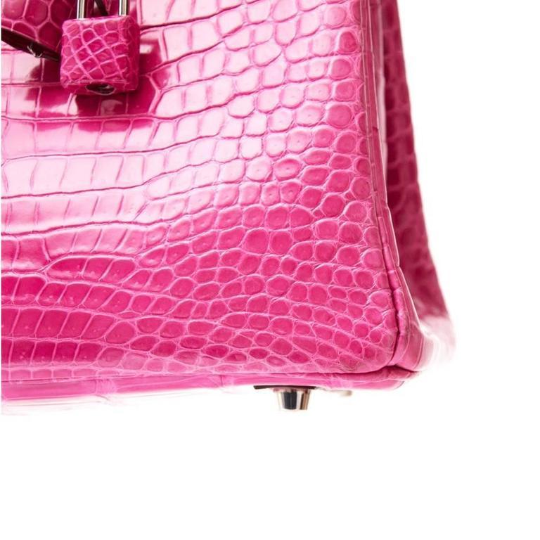Women's Hermes Birkin 30 Crocodile Porosus Lisse Fuchsia  For Sale