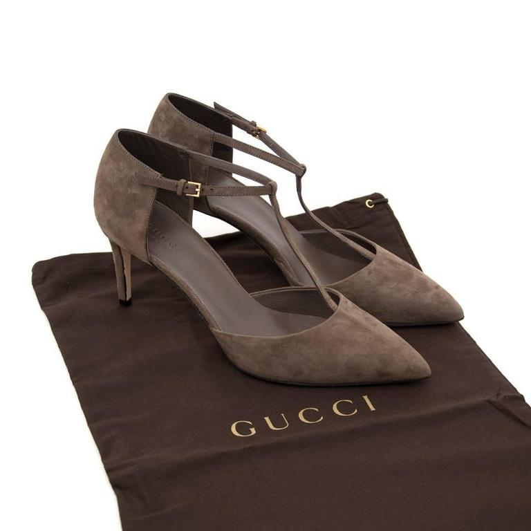 Brown Gucci Grey Suede Heeled Sandals For Sale
