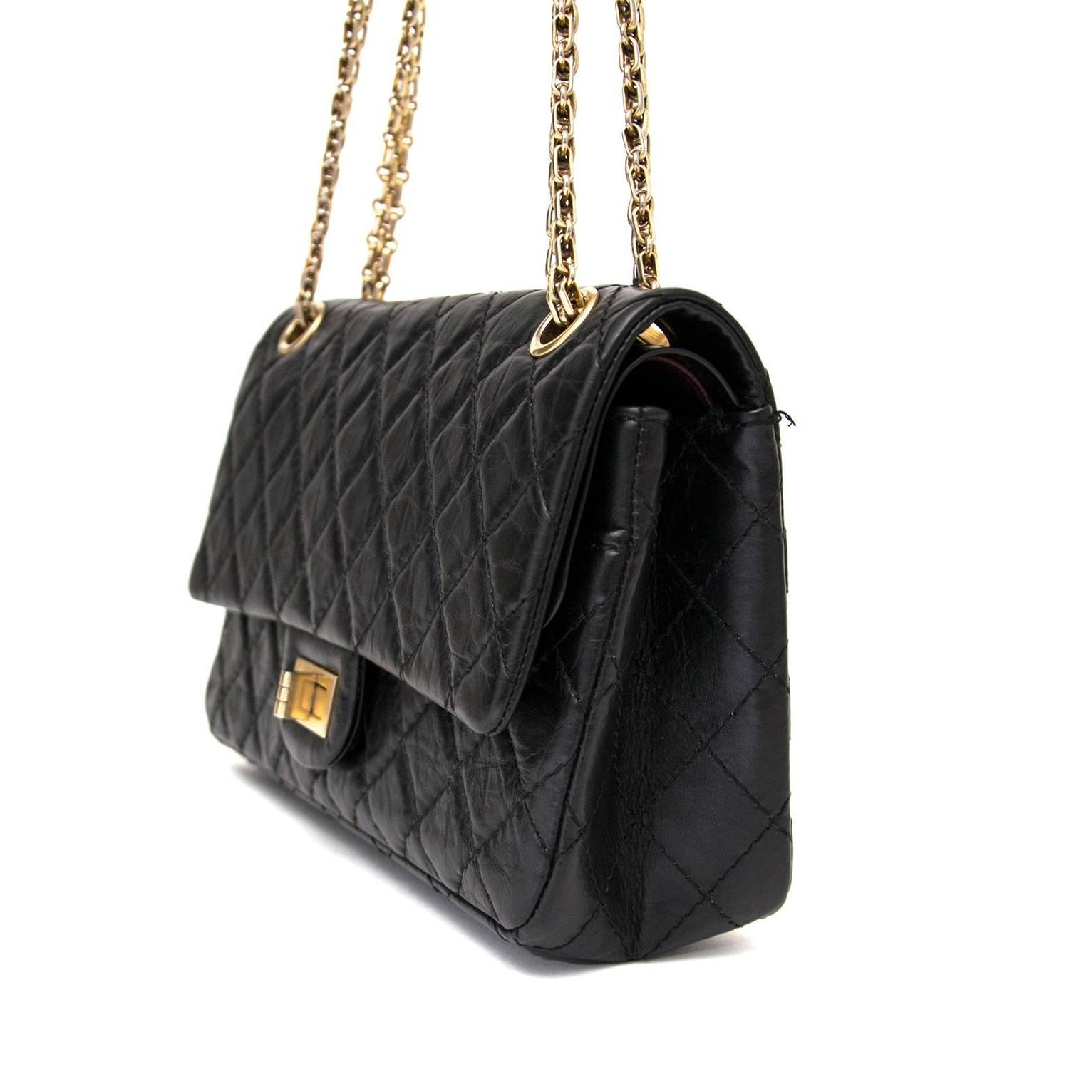 chanel 2 55 reissue 225 flap bag in black at 1stdibs