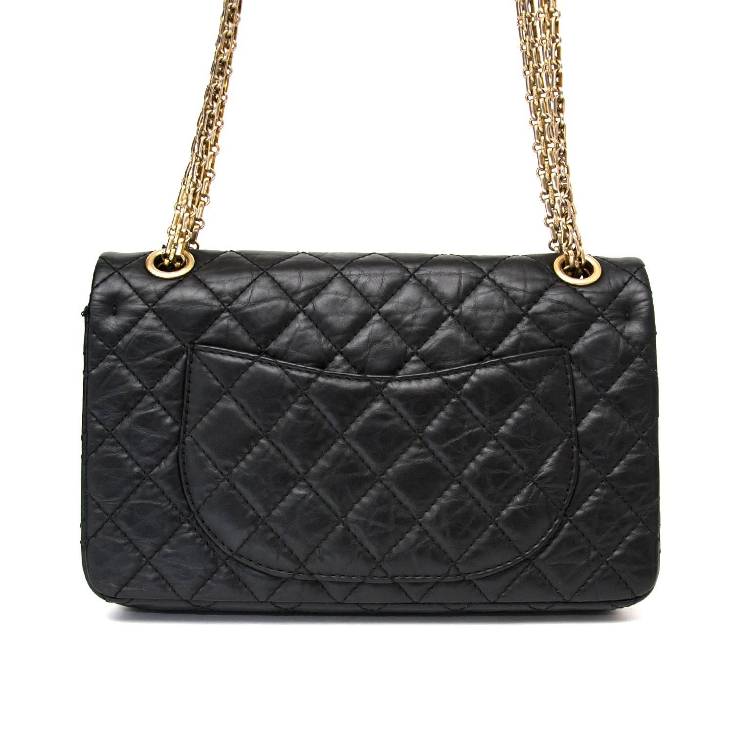 fc868c5137f3 Chanel 2.55 Reissue 225 Double Flap Bag in Black at 1stdibs