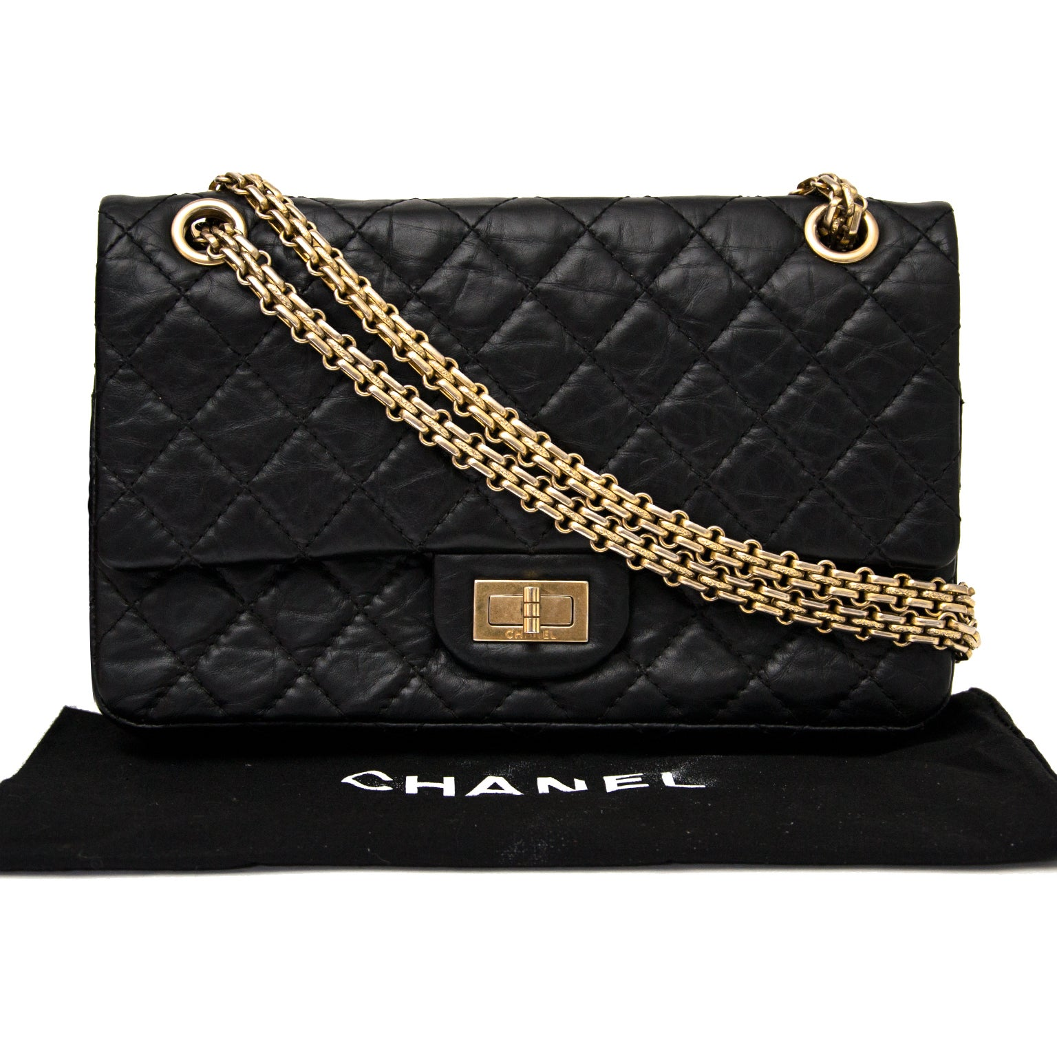 a885ab99105295 Chanel 2.55 Reissue 225 Double Flap Bag in Black at 1stdibs