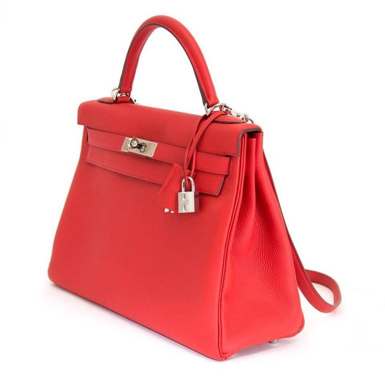 1590b44947d5 ... store red brand new hermes kelly geranium retourne 32 togo for sale  2df47 1b3b6