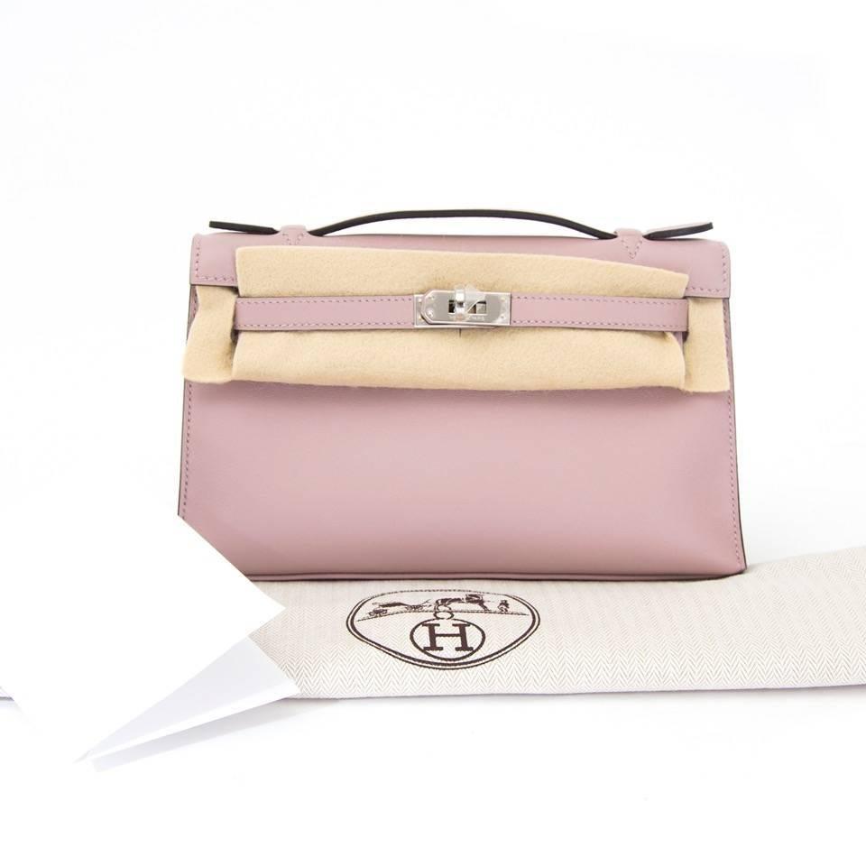 483ddb08d785 Brand New Hermes Kelly Pochette Bag Mini Swift Glycine at 1stdibs