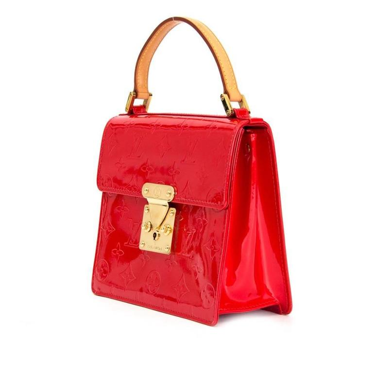 3adf74a4957e1 Rare Louis Vuitton Red Monogram Vernis Spring Street Tote Bag In Excellent  Condition For Sale In