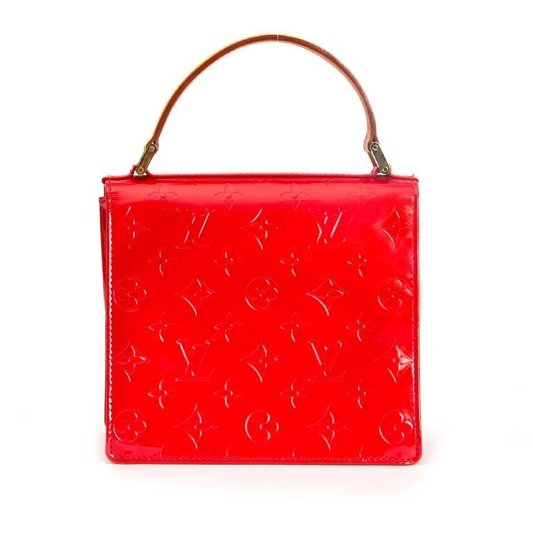 Authentic Louis Vuitton Vernis Spring Street In Red With Gold Hardware Small Handbag