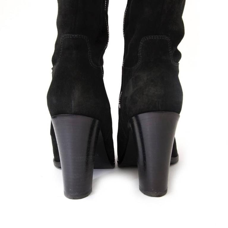 sergio black suede boots at 1stdibs