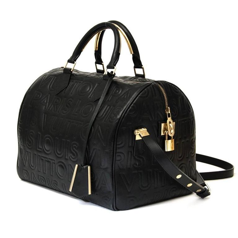 f7f11675549a Louis Vuitton Limited Edition Black Embossed Leather Speedy Cube Bag ...
