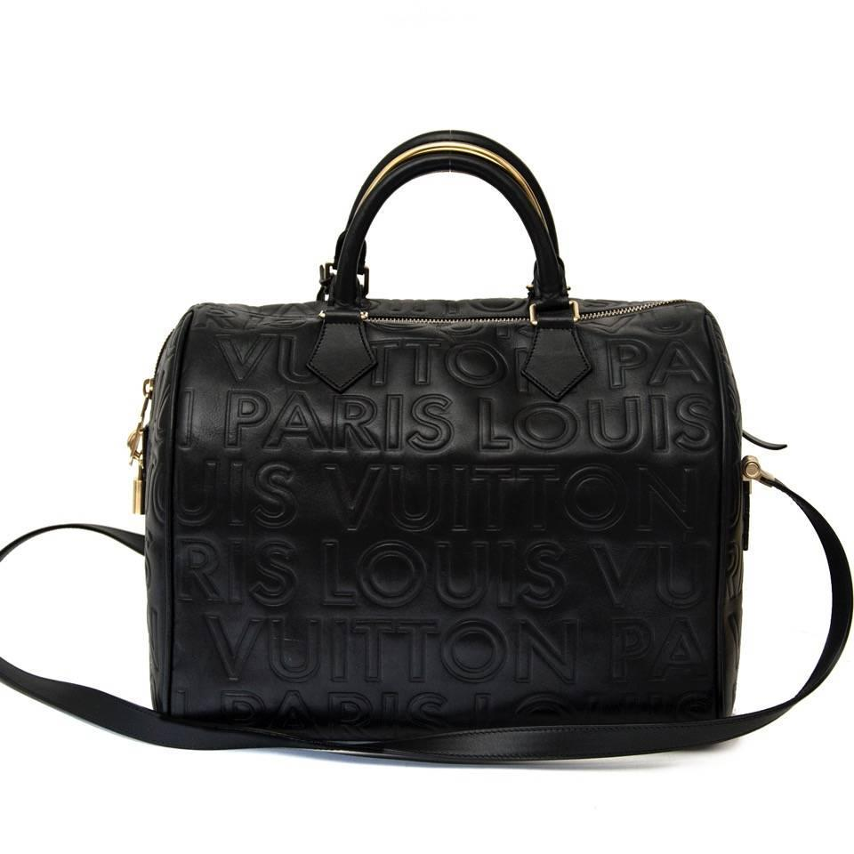 louis vuitton limited edition black embossed leather