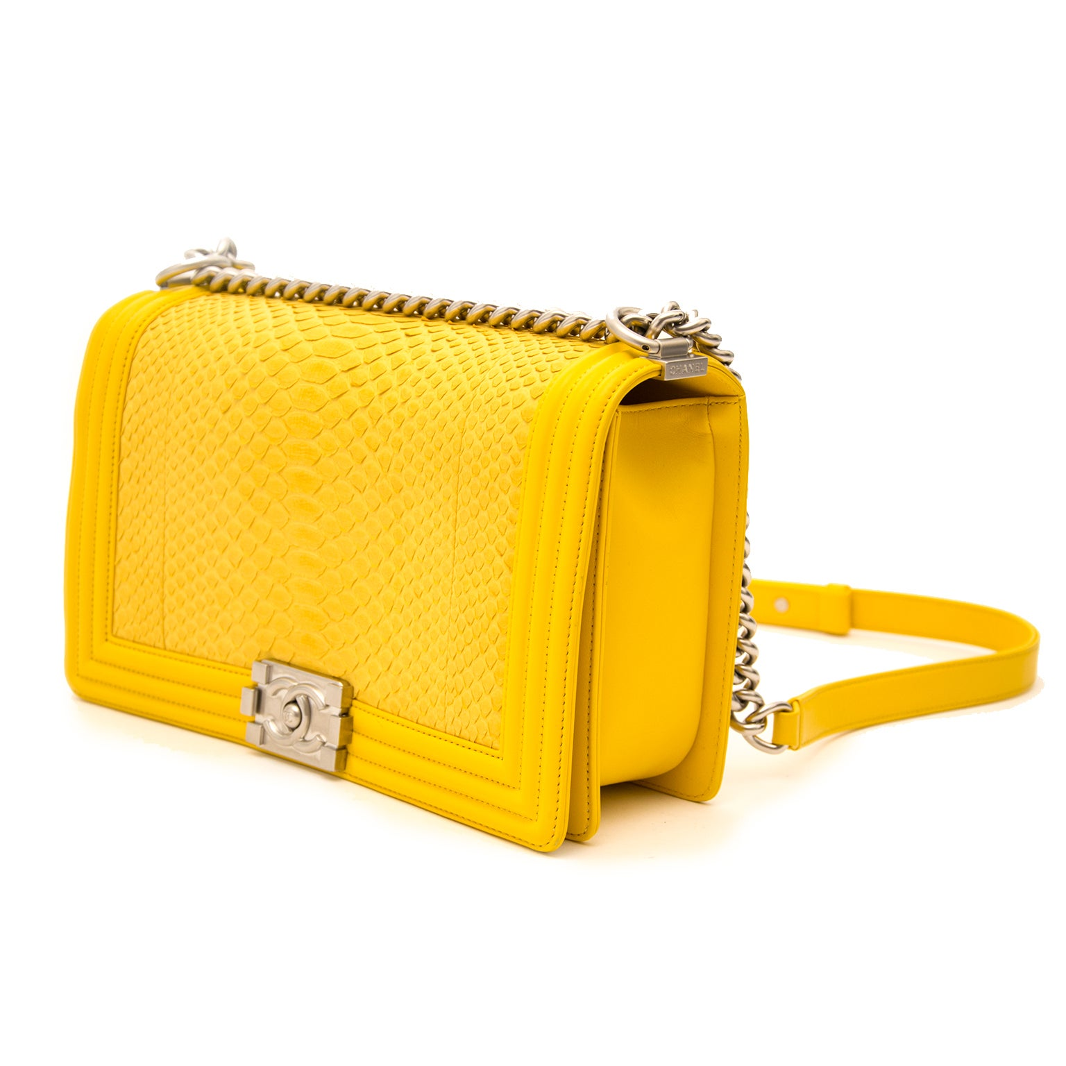 ac4f14489e60 Limited Chanel Python Yellow New Medium Boy Bag at 1stdibs