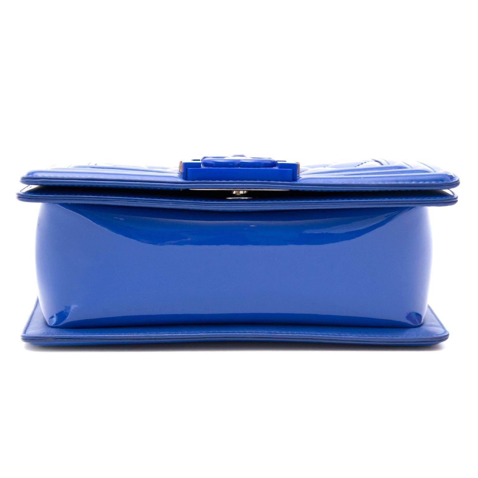 487622031e2b Chanel Patent Petrol Blue Boy Bag with Plexiglass CC Boy Clasp at 1stdibs