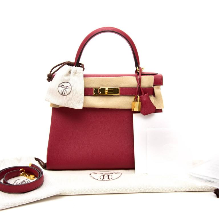 87ae494c1dae Brand New Hermès Kelly Retourne 28 cm Evercolor Rouge Grenat GHW at ...