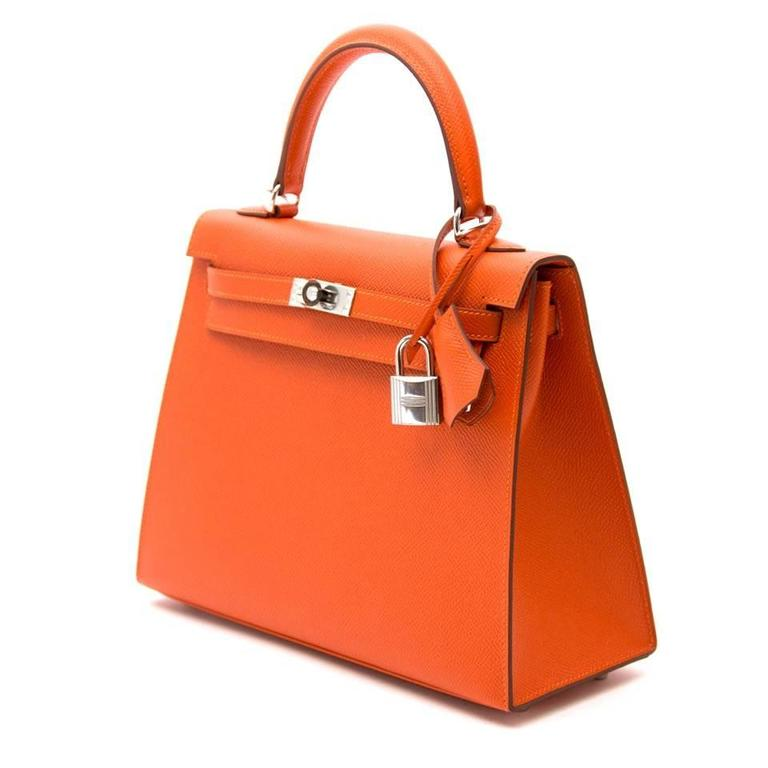 4ca1aa65150 ... uk this hermès kelly 25 cm made out of epsom leather in a gorgeous feu  color
