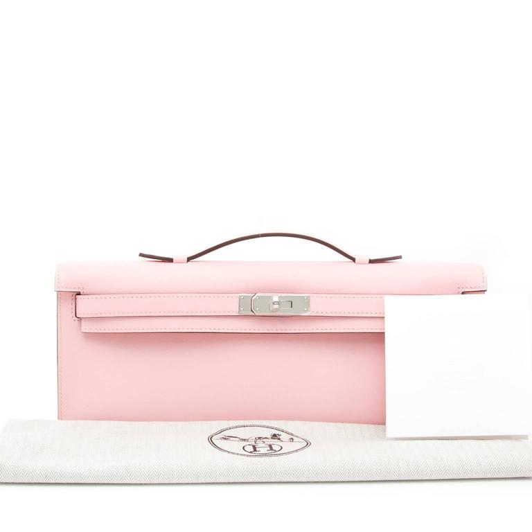 Hermès Kelly Cut Pochette Rose Sakura Swift Phw 2