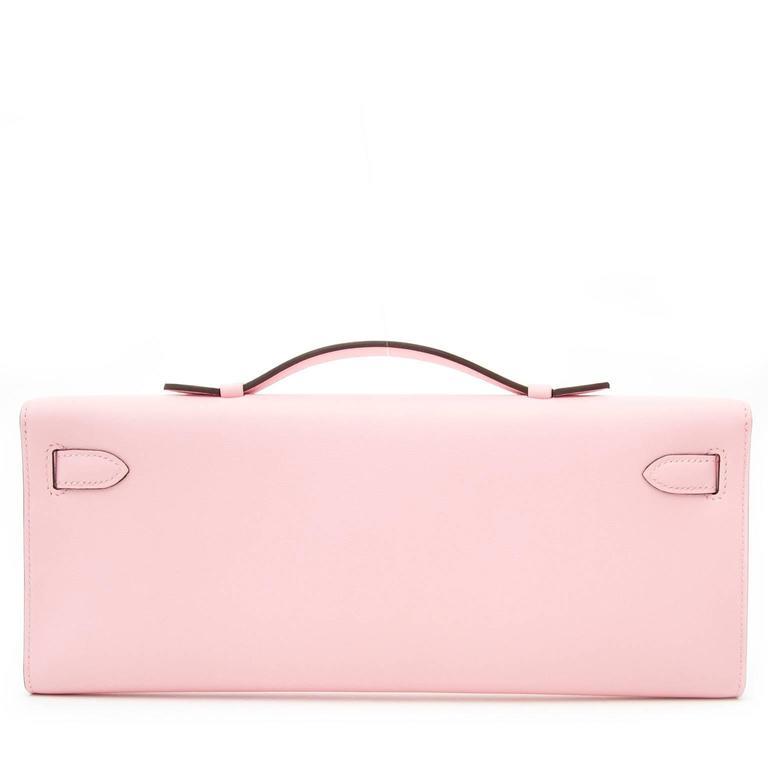 Hermès Kelly Cut Pochette Rose Sakura Swift Phw 3