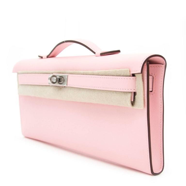 Hermès Kelly Cut Pochette Rose Sakura Swift Phw 4