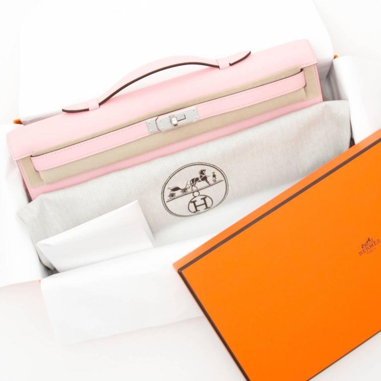 Hermès Kelly Cut Pochette Rose Sakura Swift Phw 7