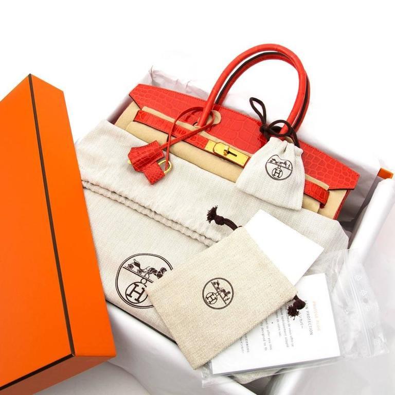 Brand New Hermes Birkin 35 Orange Poppy Porosus Lisse 3