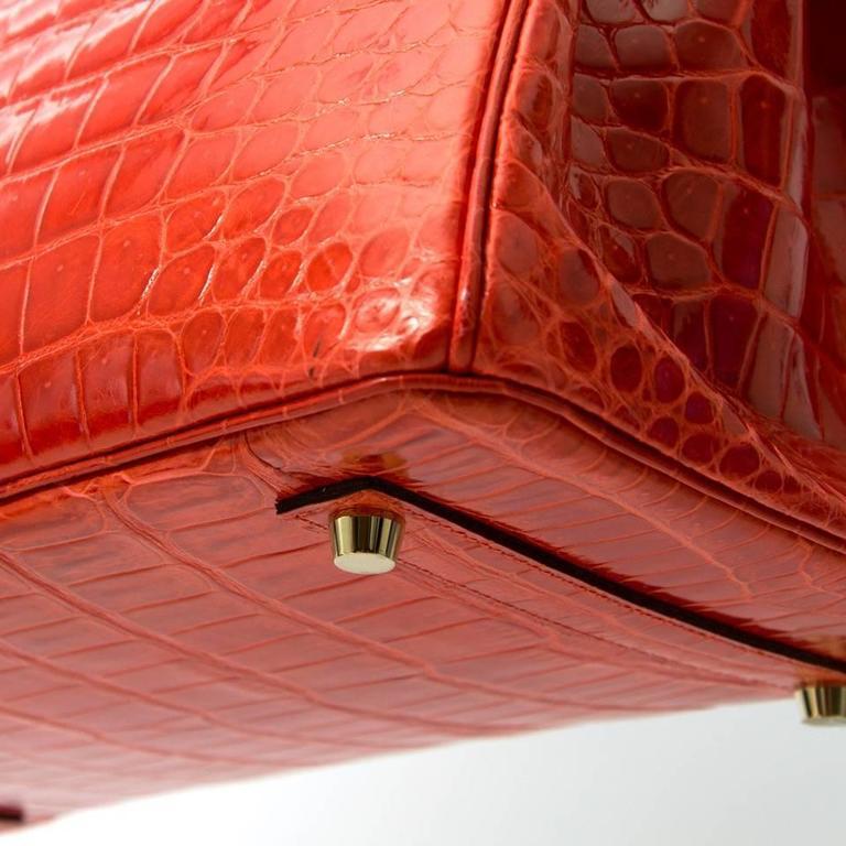 Brand New Hermes Birkin 35 Orange Poppy Porosus Lisse 5