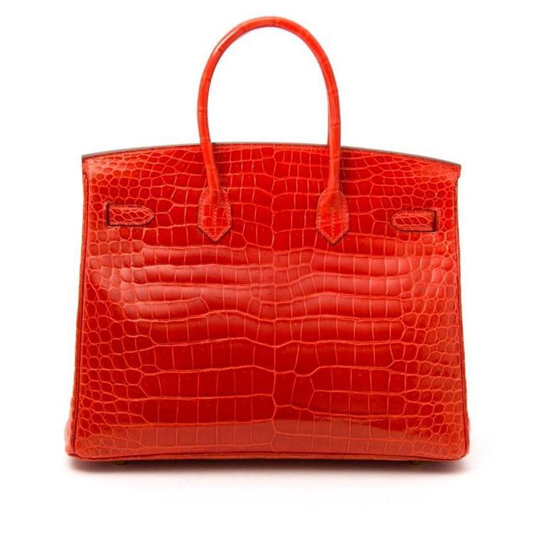 Brand New Hermes Birkin 35 Orange Poppy Porosus Lisse 4