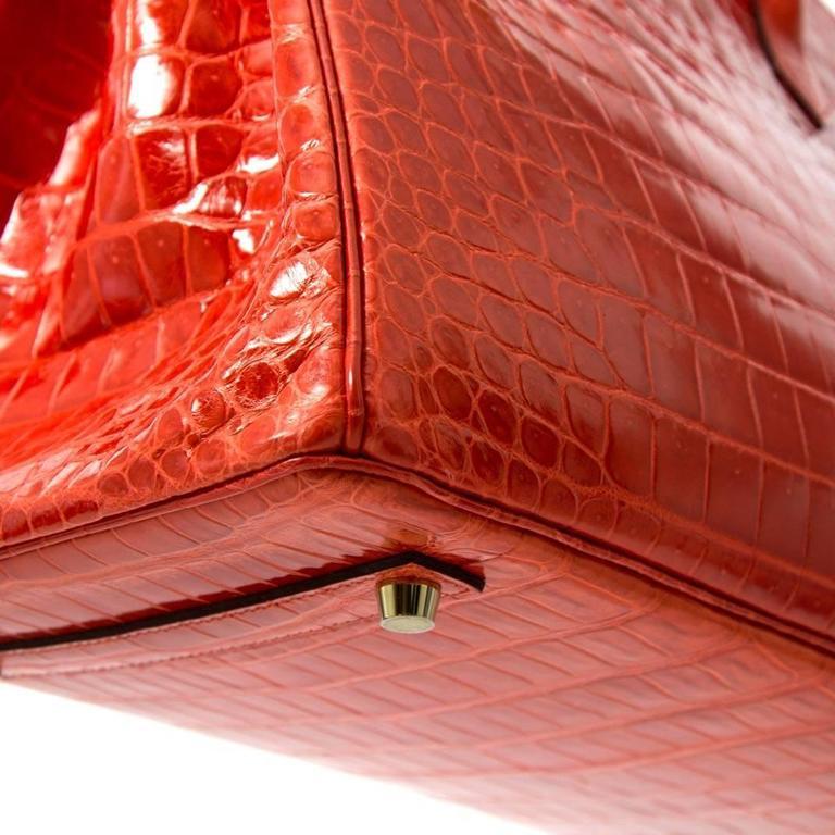Brand New Hermes Birkin 35 Orange Poppy Porosus Lisse 7