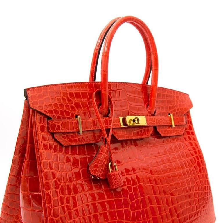 Brand New Hermes Birkin 35 Orange Poppy Porosus Lisse 6