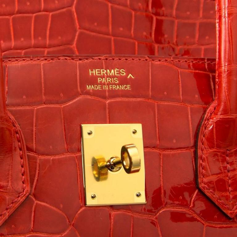 Brand New Hermes Birkin 35 Orange Poppy Porosus Lisse 8