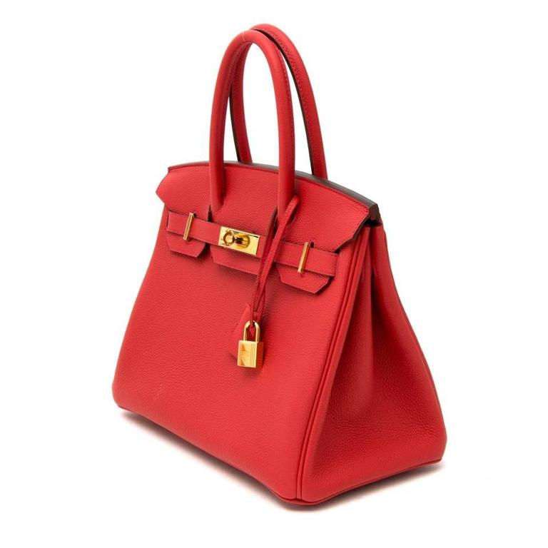 Hermes Birkin 30 Veau Togo Geranium GHW In New Never_worn Condition For Sale In Antwerp, BE